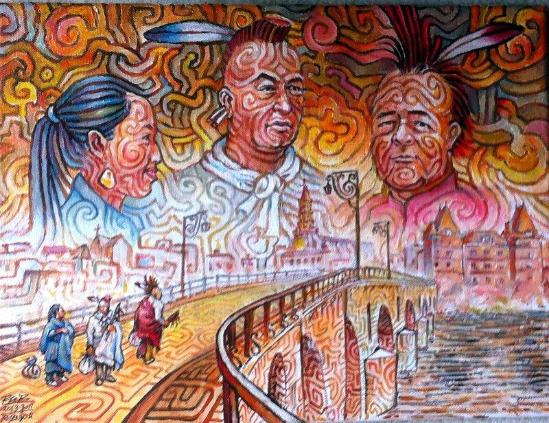 acrylique/toile de Rosendo Li offert au musée de Pawhuska