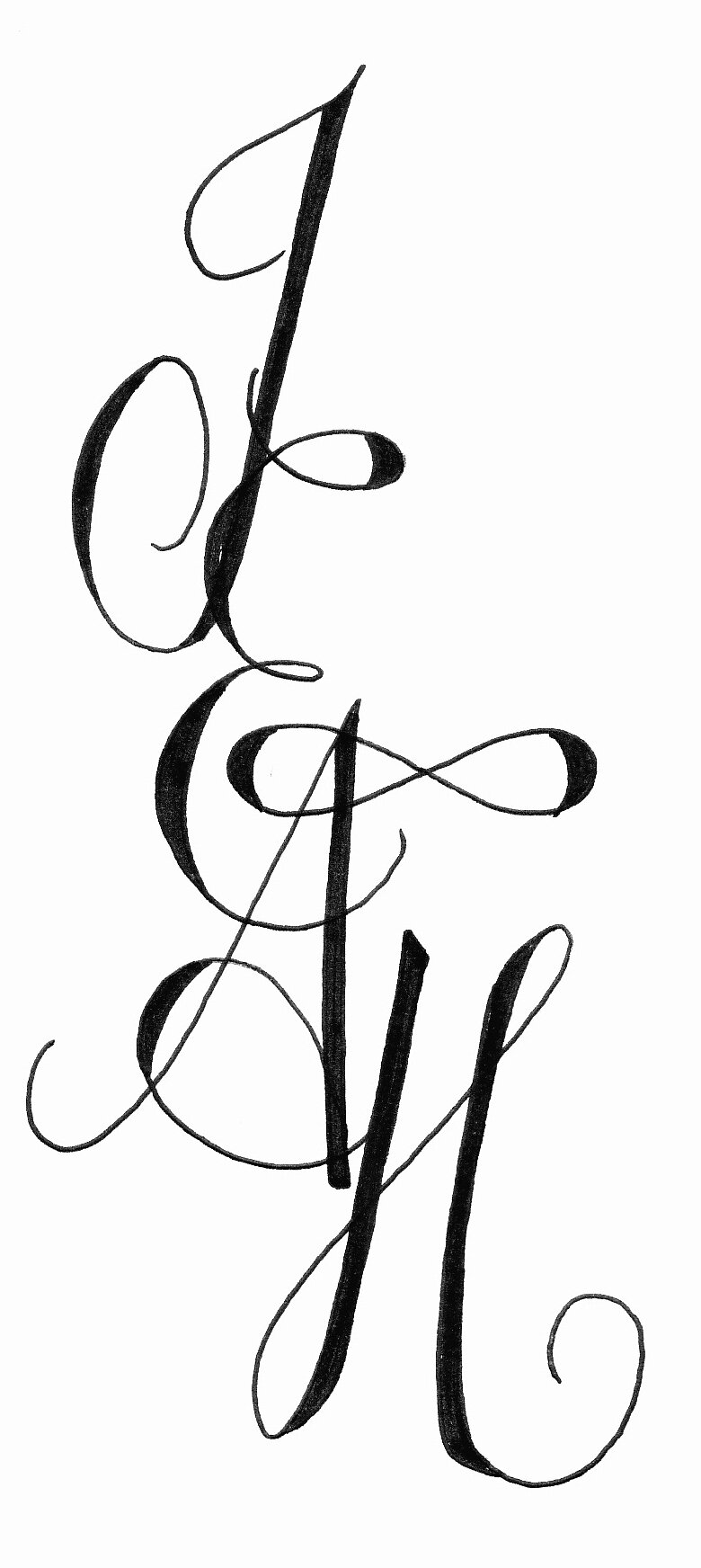 Jeah l 39 association emily calligraphy - Tatouage initiale calligraphie ...
