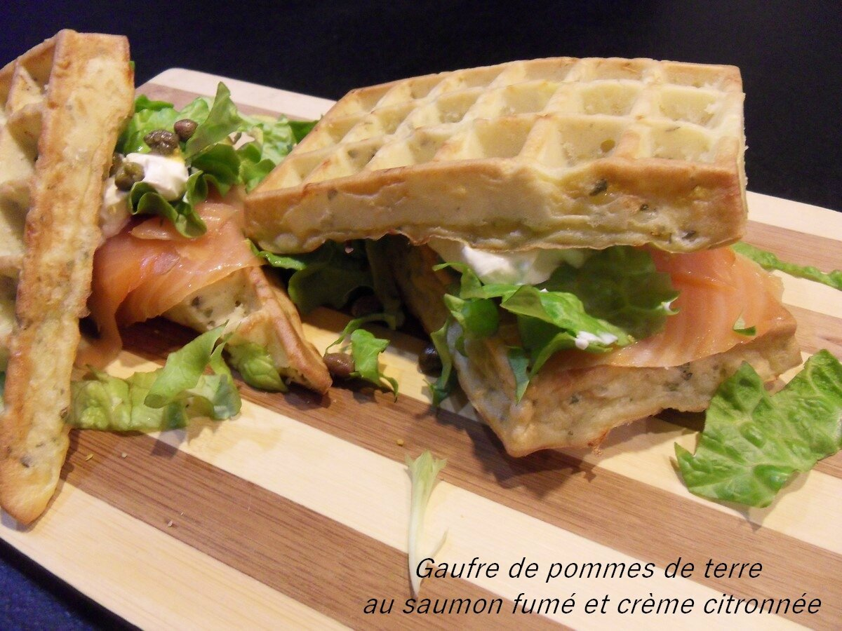 gaufre de pomme de terre au saumon fume cr me citronnee recettes voyageuses de barbara. Black Bedroom Furniture Sets. Home Design Ideas