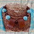 Collier 2 maxi perles bois et perles patinées vert turquoise (N)