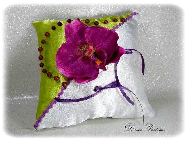 Coussin pour alliances orchidée violet vert anis