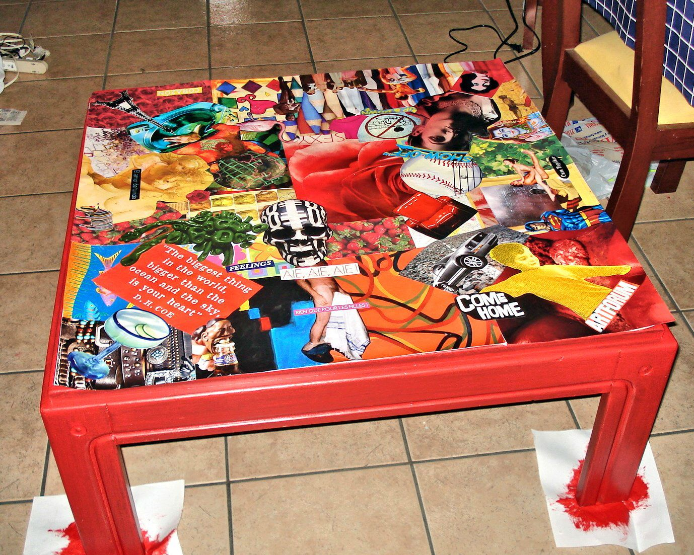 Table basse collage id es couleurs cr ations - Table basse peinte ...