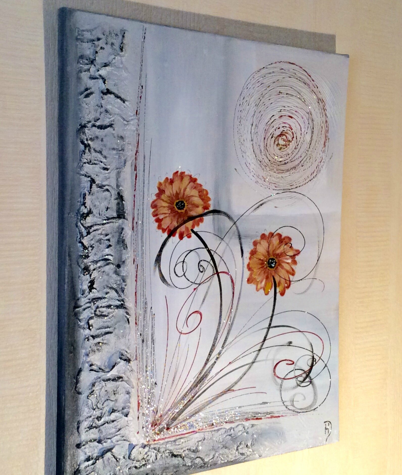 Peinture abstraite gerberas la peinture en abstrait - Peinture effet profondeur ...