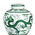 A green-enamelled 'dragon' jar and cover, Qianlong Seal Mark And Period - Sotheby's