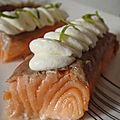 Paves de saumon frais fumes au the et leur chantilly aux deux citrons