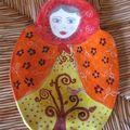 Coupelle Matriocka orangée à l'arbre