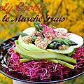 Salade d'asperges vertes et pomme granny sur lit de pousses de betterave, sauce aux noix