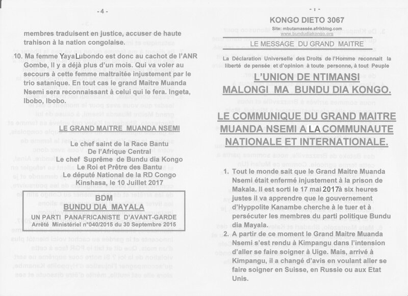 LE COMMUNIQUE DU GRAND MAITRE MUANDA NSEMI A LA COMMUNAUTE NATIONALE ET INTERNATIONALE a