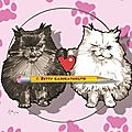 Cadeau fte des mres - caricatures de chats main coon