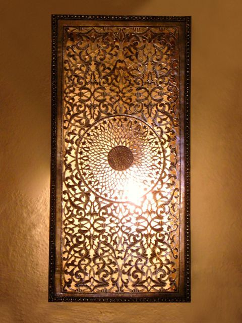 Moroccan Wall Sconces Lighting : Moroccan wall light, sconce and its delicately chiselled rose pattern. Moroccan Decorating ...