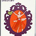 carte d'anniversaire avec danseuse dans cadre baroque
