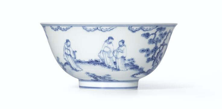A fine and rare blue and white Chenghua-style 'Landscape' bowl, Mark and period of Kangxi