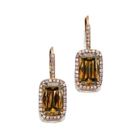 "A pair of ""Ashoka Datia"" fancy colored diamond earrings, William Goldberg"