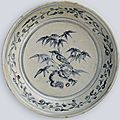 A blue and white dish with bird and floral decoration, Vietnam, late 15th-early 16th century