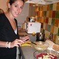 Le crumble aux framboises et bananes de cathy