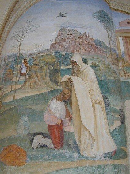 Comment le moine Romain donne l'habit d'ermite à benoît