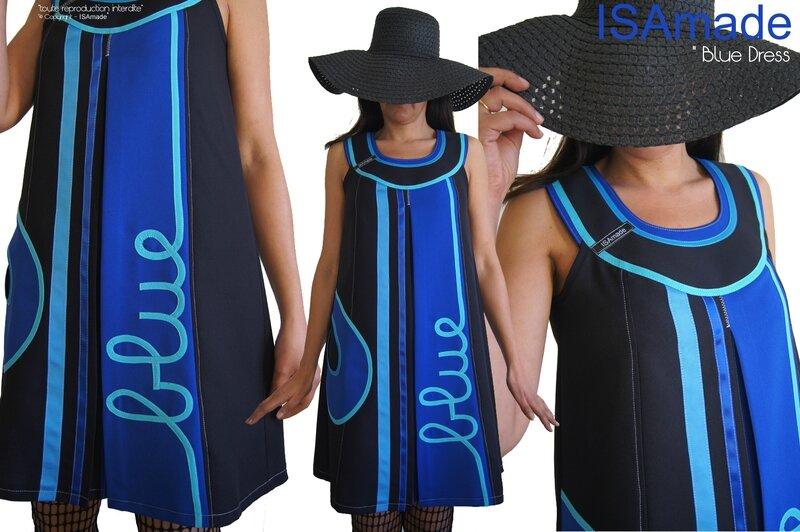 MOD 388A Robe Trapèze Bleu électrique Turquoise chic créateur made in France collection Printemps 2016