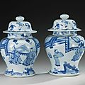 A pair of blue and white baluster jars and covers, Qing dynasty, Kangxi period