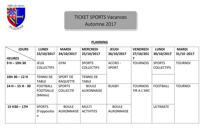TS Planning Automne 2017