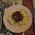 Birthday main course: (tagliatelle à la) sauce tomate maison