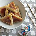 Petits samossas au jambon et fondu de poireaux au fromage