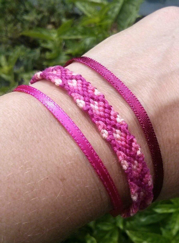 Bracelet rose brésilien rubans détail