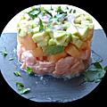 Tartare de saumon, avocat et melon