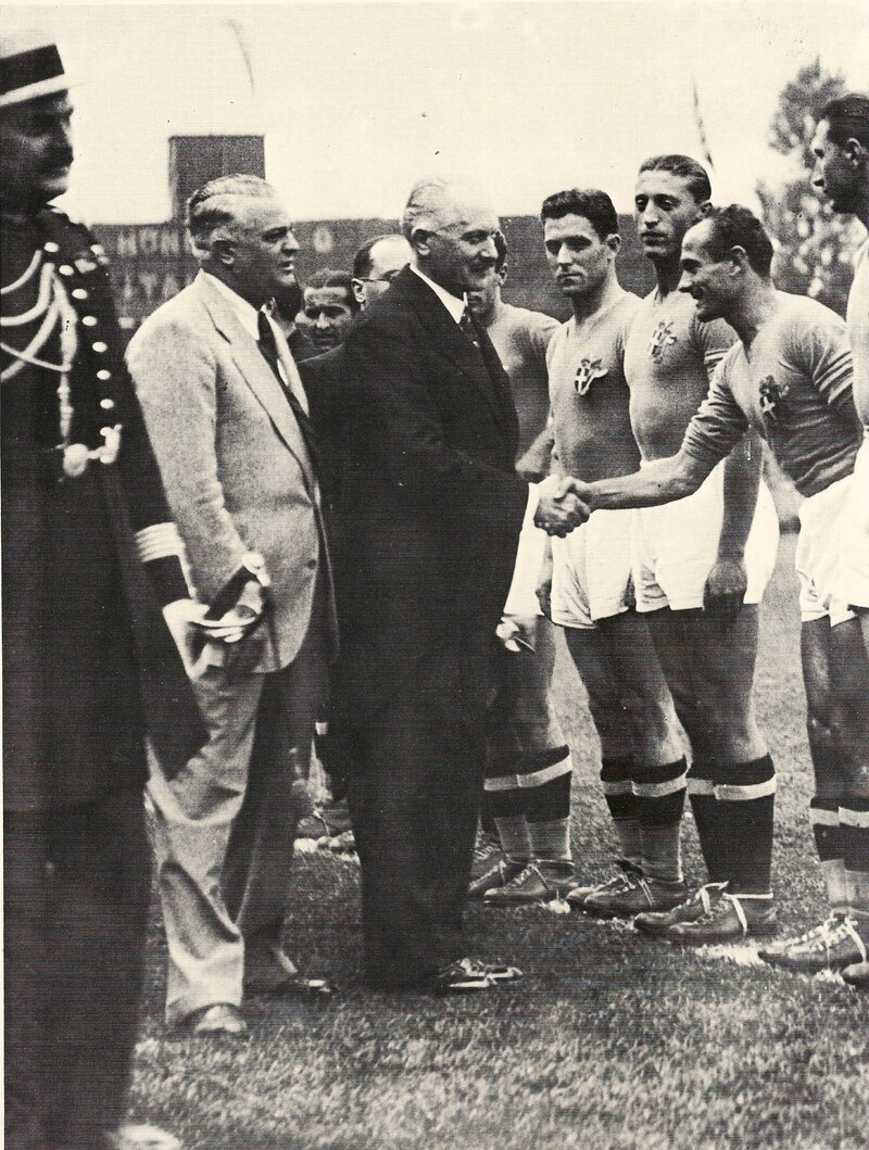 1938 Photo Finale Président Albert Lebrun Gal Vaccaro Joueur Andreoto ex Uruguay