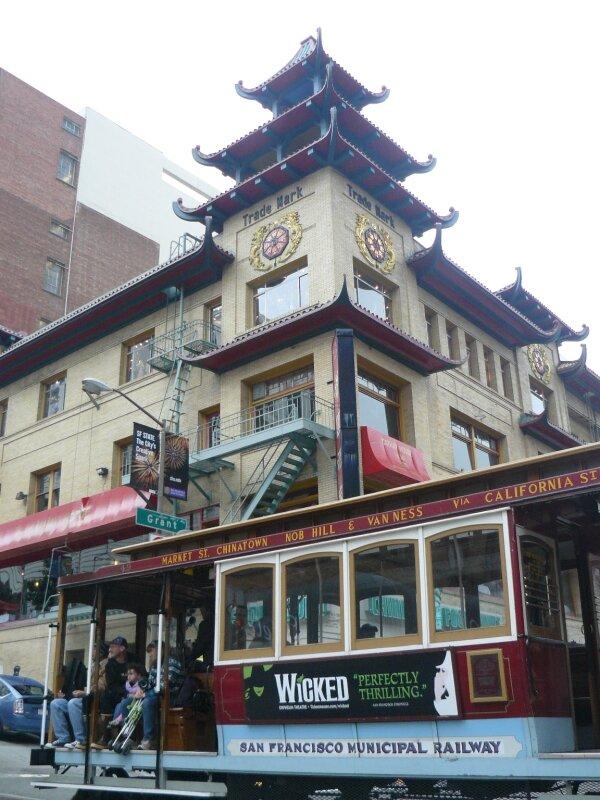 San Francisco : Le restaurant où l'on a mangé et un cable car