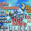 Le programme complet de la fête de l'humanité normandie au parc expo de grand-quevilly les 22 et 23 novembre