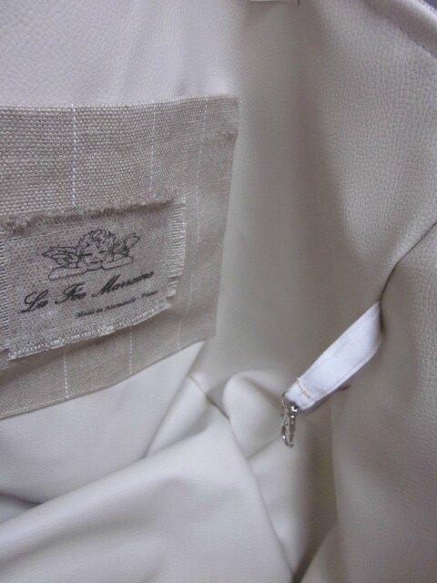 Sac FELICIE n°1 en coton enduit imprimé pommes, lin brut rayé blanc, ruban paillettes or, simili cuir écru, bouton de nacre et anses surplus militaire (8)