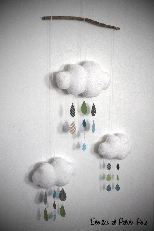 Mobile nuages et gouttes de pluie bleu gris anis