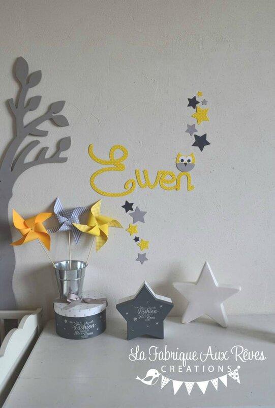 stickers prénom garçon jaune gris hibou étoiles - décoration chalbre bébé garçon jaune gris hibou étoiles