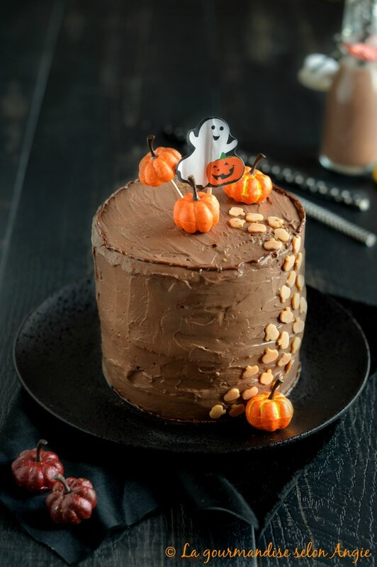 layer cake potiron mousse chocolat - halloween vegan