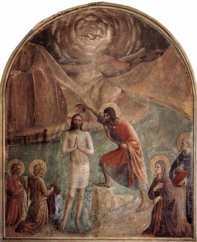 1440 - FRA ANGELICO Baptême du Christ - fresque du couvent San Marco - wikimedia