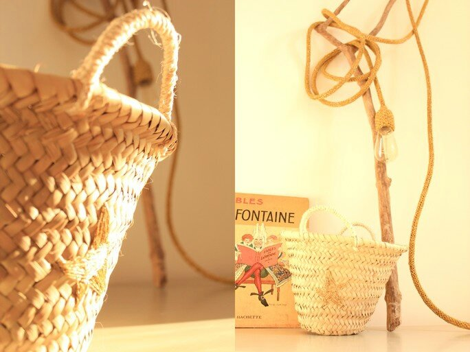 Mini panier anses corde broderie étoile or TRENDY LITTLE 2
