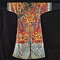 An embroidered chesnut-ground 'Nine dragon' robe, Jifu. Qing dynasty