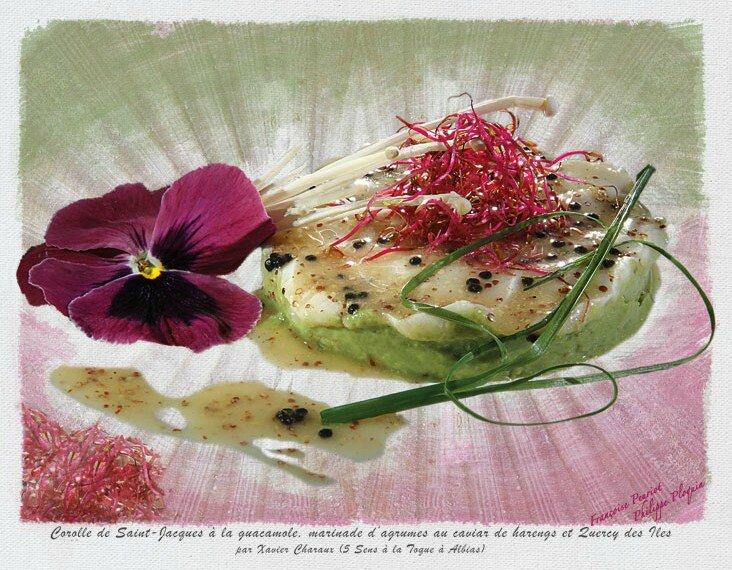 Corolle de coquille Saint-Jacques à la guacamole