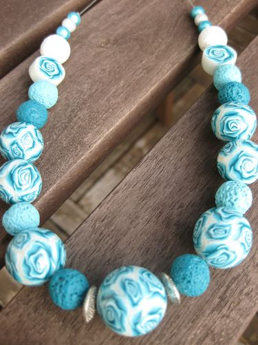 Collier boules roses turquoise