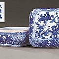 A fine late Ming blue and white square box and cover, Wanli six-character mark and of the period (1573-1619)
