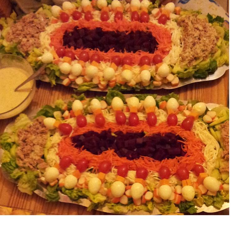 Populaire salades crudités thon & mini brochettes oeufs de caille mimolette  BY49