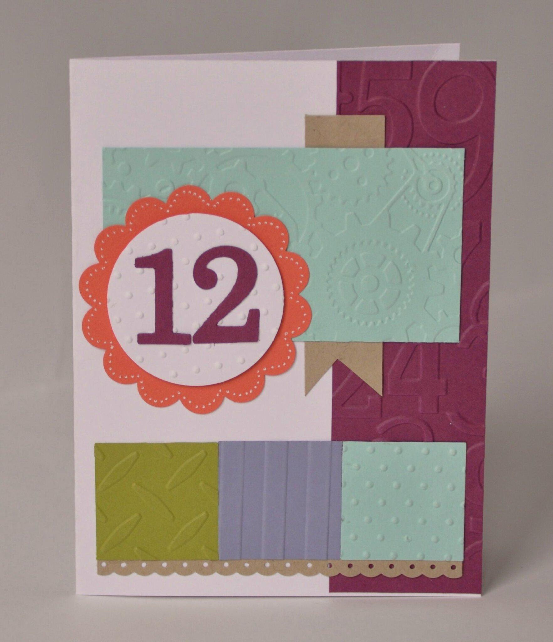 Une carte d 39 anniversaire pour les 12 ans d 39 a les ateliers de marie - Carte anniversaire garcon 12 ans ...