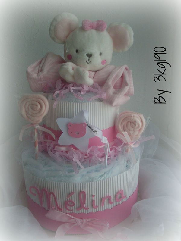 la vie en rose diaper cake baby girl cartonnerie. Black Bedroom Furniture Sets. Home Design Ideas