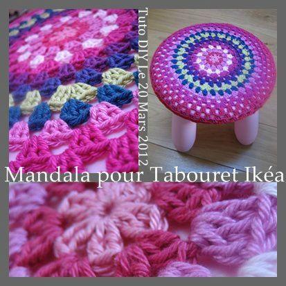 Mandala pour housse de tabouret granny mania - Housse pour tabouret rond ...