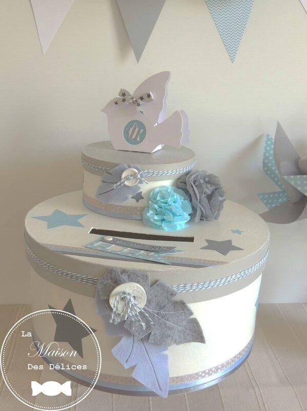 urne bapteme baby shower thme oiseau etoile gris bleu pastel blanc