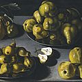 Spanish school, first half of the 17th century, still life with quinces and pears arranged on a stone table top