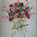 Bouquet de roses en ruban de soie