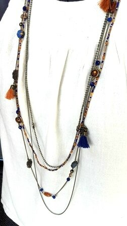 collier 4 rangs bleu roy et camel 2 pw