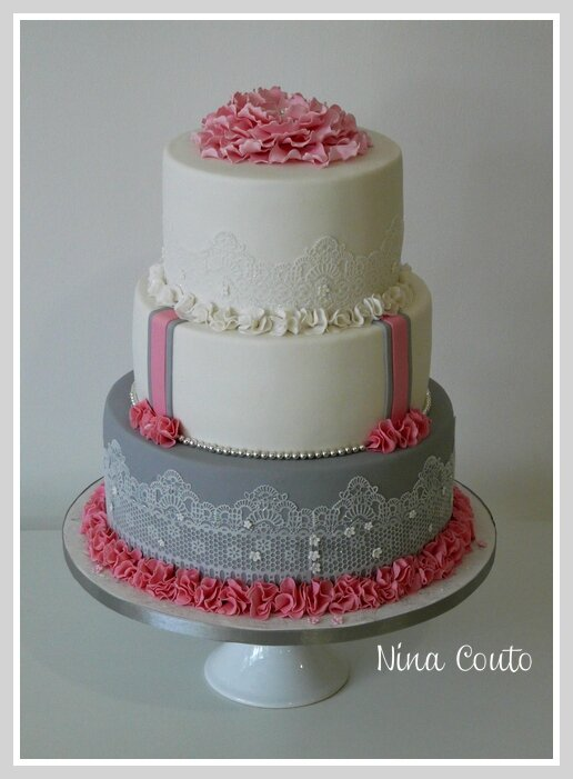 wedding cake gris rose blanc Nimes3