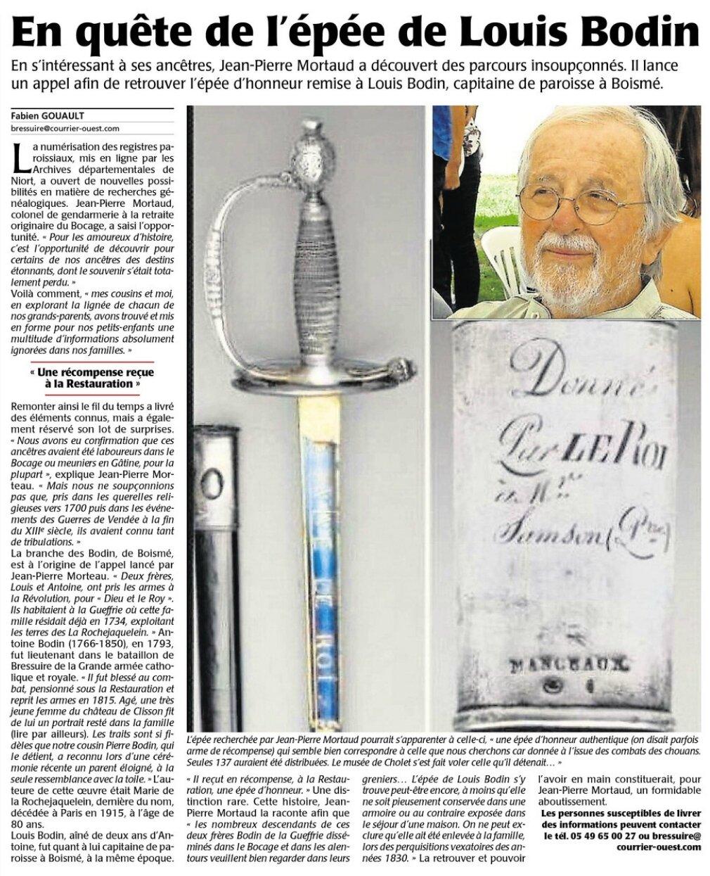 En quête de l'épée de Louis Bodin